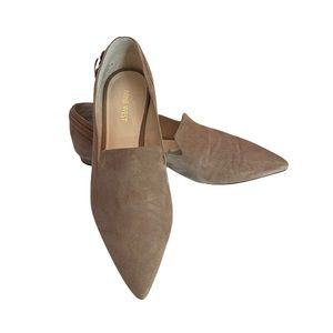 Nine West 100% suede leather upper camel tan colour slip on flat shoes size 8